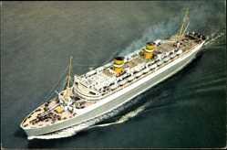 Postcard S.S. Nieuw Amsterdam, HAPAG, Dampfschiff, Fliegeraufnahme