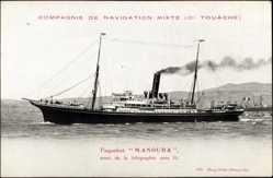 Postcard Paquebot Manouba muni de la telegraphie, Compagnie de Navigation Mixte