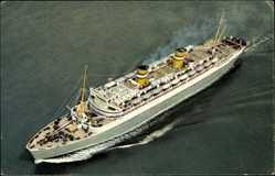Postcard Dampfschiff S.S. Nieuw Amsterdam, HAPAG, Fliegeraufnahme