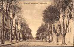 Postcard Belgrad Serbien, Konak utca, Blick in die Konakgasse, Straßenbahn