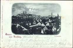 Mondschein Ak Freising, Stadtansicht, Häuser, Straßen, Glockenturm