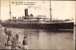 Postcard Oran, Paquebot Mustapha II, Dampfer im Hafen, Cie de Navigation Mixte
