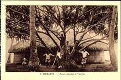 Ansichtskarte / Postkarte Tantira Tahiti, Case indigene, Einheimische, Strohhütten