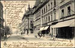 Postcard Riesa an der Elbe Sachsen, Wettinerstraße, Kaiser Wilhelm Platz, Geschäfte