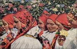 Künstler Ak Uprka, Joza, Frajerecky, Tschechische Trachten, Frauen