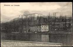 Postcard Skopje Mazedonien, Zitadelle, Blick vom Wasser aus