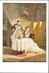 Künstler Ak Lendecke, O., Das Frühstück, Hausmädchen gießt Tee ein