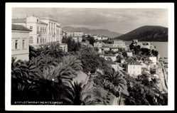 Postcard Hercegnovi Montenegro, Teilansicht der Ortschaft, Palmen, Berge