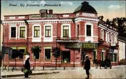 Postcard Kowel Ukraine, Rog Bulewarnej i Aleksandra II., Apotheke, Kutsche, Passanten