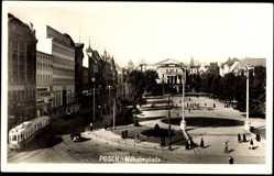 Foto Ak Poznań Posen, Straßenbahnen auf dem Wilhelmplatz