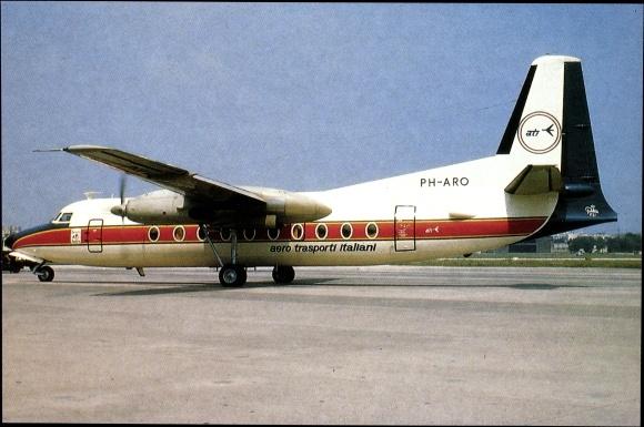 Postcard Fokker F 27 Ati Propellermaschine Ph Aro Akpoolcouk