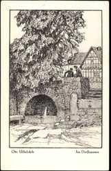Künstler Ak Ubbelohde, Otto, Am Dorfbrunnen, Meine Wälder, Heimatbuch
