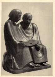 Ak Plastik von Ernst Barlach, Die lesenden Mönche, Holz 1932