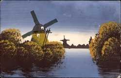 Handgemalt Ak Alte Windmühle am Wasser, Büsche, Reflektionen