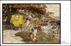 Künstler Ak Georgi, W., Postkutsche, Einfahrt in einen Ort, Kapelle