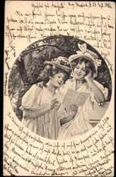Künstler Ak Levis, M., Zwei junge Mädchen einen Brief lesend