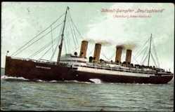 Postcard Dampfschiff Deutschland, HAPAG, Ansicht Backbord in Fahrt