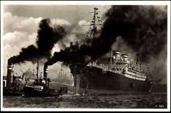 Postcard Ausschleppen des M.S. St. Louis, HAPAG, Schleppschiff, Dampfer
