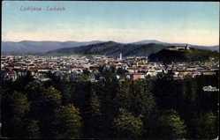 Postcard Ljubljana Laibach Slowenien, Panorama der Stadt, Burg