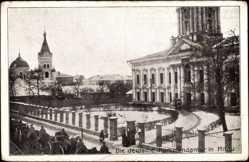 Postcard Jelgava Mitau Lettland, Die deutsche Kommandantur, Winter, Schnee