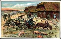 Künstler Litho Thiele, Arthur, Von Kultur keine Spur, Soldaten im Osten, Bauern