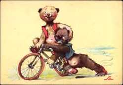 Künstler Ak Salac, A. L., Zwei Bären mit Fahrrad, Reifenpanne