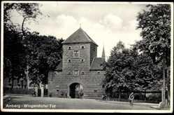 Postcard Amberg in der Oberpfalz Bayern, Wingershofer Tor, Fahrradfahrer