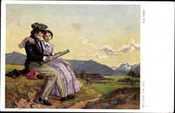 Künstler Ak Voss, Leop., Der Maler, Landschaftsmaler, Frau