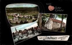 Postcard Schönsee Oberpfälzer Wald, Kirche mit Teich und Totalansicht
