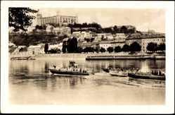 Postcard Poszony Pressburg Bratislava Slowakei, Flusspartie, Boote, Burg