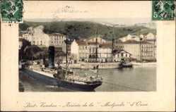 Postcard Port Vendres, Arivée, Paquebot Medjerda, Compagnie de Navigation Mixte