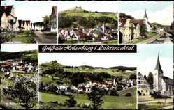Postcard Hohenburg i. Lauterachtal, Marktkirche St. Jakob, Ortschaft mit Burgruine