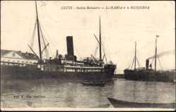 Postcard Cette, Station Balnéaire, Paquebots Marsa et la Medjerda