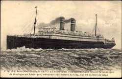 Postcard Boulogne sur Mer, Paquebot Le Rotterdam, HAPAG, Traversée en Amérique