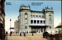 Postcard Belgrad Serbien, Théâre National, Staatstheater