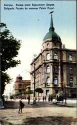Postcard Belgrad Serbien, Facade du nouveau Palais Royal, Neues Schloss