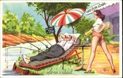 Künstler Ak Le coin idéal, Angler, Liegestuhl, Junge Frau, Beine, Po