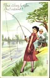 Künstler Ak Vous utilisez le nylon, Oui, indiscret, Angler, Frau, Strümpfe