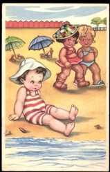 Künstler Ak Kinder am Strand, Junge, Mädchen, Braungebräunt