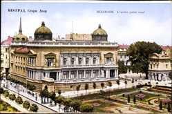 Postcard Belgrad Serbien, L'ancien palais royal, Parkanlage mit Palast