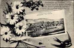 Passepartout Ak Bitola Monastir Mazedonien, Vue generale, Berg, Häuser, Platz