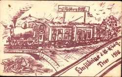 Studentika Ak Trier in Rheinland Pfalz, Einjährige d. Kl. K.W.9 1910, Eisenbahn
