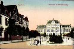 Postcard Saarlouis im Saarland, Gymnasium mit Hohenzollernring