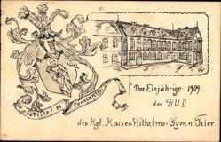 Studentika Ak Trier in Rheinland Pfalz, Einjähriges 1909 der GU II,Wilhelmsgymn.