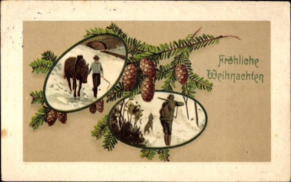 Frohe Weihnachten Jager.Embossed Postcard Frohe Weihnachten Tannenzapfen Akpool Co Uk