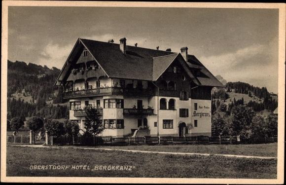 ansichtskarte postkarte oberstdorf im oberallg u hotel pension bergkranz au enansicht. Black Bedroom Furniture Sets. Home Design Ideas
