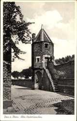 Postcard Zons Dormagen Rhein, Blick auf das alte Wachttürmchen