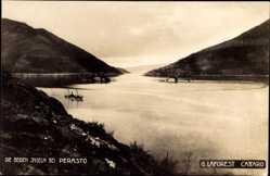 Postcard Perast Montenegro, Blick zu den beiden Inseln, Dampfer