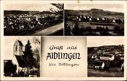 Postcard Aidlingen Krs. Böblingen, Totalansicht, Kirche, Umgebung