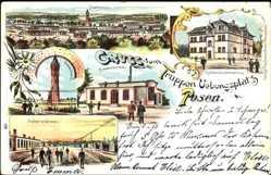 Litho Poznań Posen, Truppenübungsplatz, Wasserturm, Maschinenhaus, Verwaltung